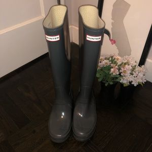 Gray Knee High Classic Hunter Boots